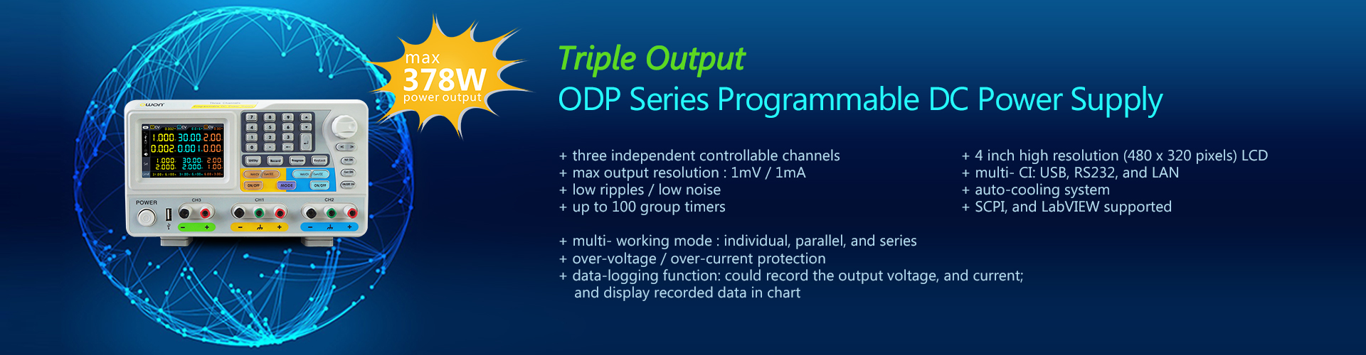 Triple Output Programmable DC Power Supply